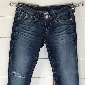 True Religion Sierra Logo Skinny Jeans Distressed